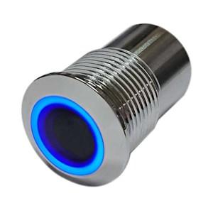 """Botoeira de Inox sem Contato """"Contactless"""" Retroiluminada com LED Azul/Vermelho 12/24VDC"""
